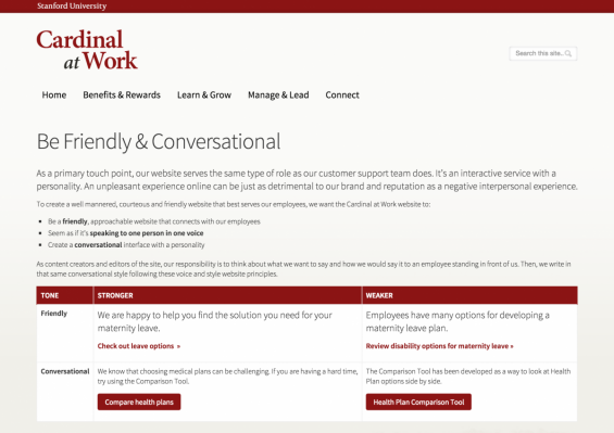"screenshot of Style Guide with the page title ""Be Friendly and Conversational"""