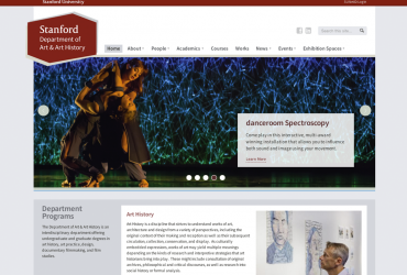 Screenshot of the homepage of Art & Art History Dept at Stanford