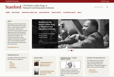 Screenshot of kinginstitute.stanford.edu homepage