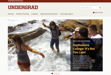 Screenshot of Undergrad.stanford homepage